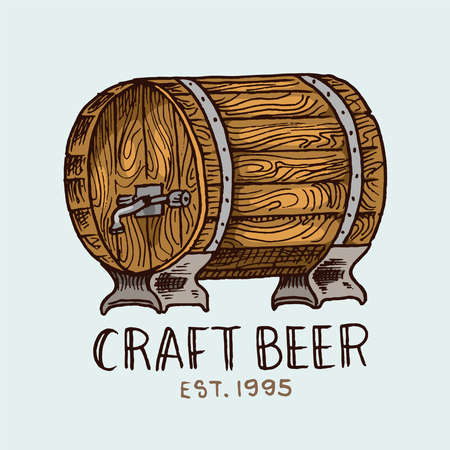 Beer Barrel in vintage style. Alcoholic Label with calligraphic elements. Classic American badge for poster banner. Cheers toast. Hand drawn engraved sketch lettering for web, pub menu. Çizim