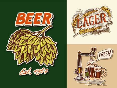 Vintage beer badge. Green Hops, Rye and wheat, Keg and crane. Label with calligraphic elements. Classic American frame for poster. Cheers toast. Hand drawn engraved sketch lettering for pub menu.
