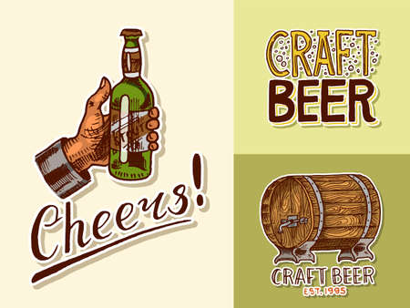 Vintage beer posters.  Cheers toast.  Alcoholic Labels with calligraphic elements. American banners. Hand drawn engraved sketch lettering for web, pub menu.