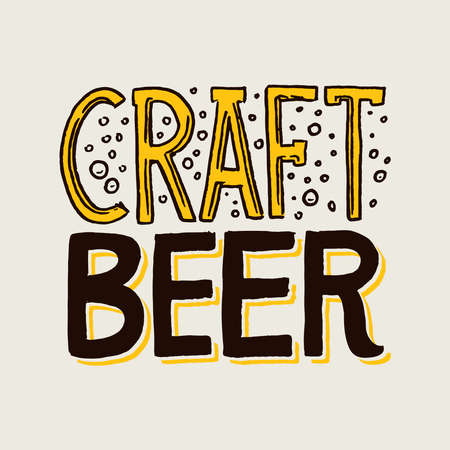 Label craft beer. Template emblem or logo with calligraphy inscription for signboard. Poster for website or book. Engraving hand drawn sketch on gray background. Vintage banner with a plant. Çizim