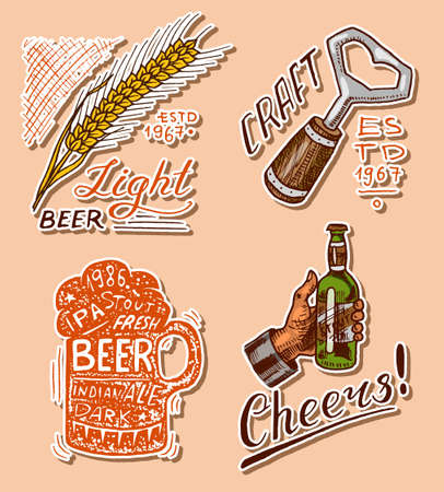 Bottle of beer in hand with the inscription Cheers toast. Opener, Rye and wheat. Vintage label with calligraphic elements. American frame for poster. Hand drawn engraved sketch for pub menu.