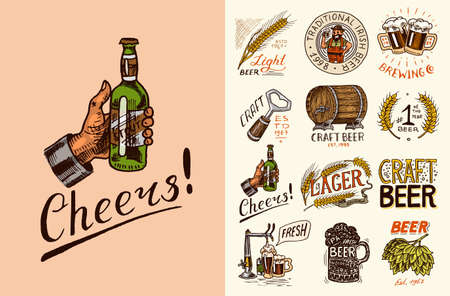 Vintage beer badge. Set of Alcoholic Label with calligraphic elements. Classic American frame for poster banner. Cheers toast. Hand drawn engraved sketch lettering for web, pub menu.