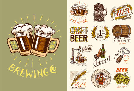 Vintage beer posters.  Cheers toast.  Set of Alcoholic Labels with calligraphic elements. American banners. Hand drawn engraved sketch lettering for web, pub menu.  イラスト・ベクター素材