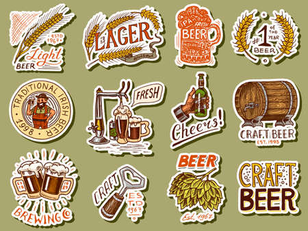 Vintage beer stickers. Set of Alcoholic Label with calligraphic elements. Classic American frame for poster banner. Cheers toast. Hand drawn engraved sketch lettering for web, pub menu.