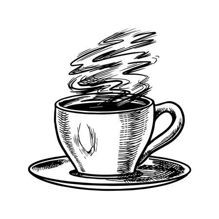Cup of coffee in vintage style. Cappuccino in a glass. Hand drawn engraved retro sketch.