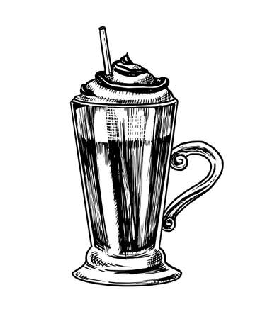 Cup of coffee in vintage style. Mocha in a glass. Hand drawn engraved retro sketch.