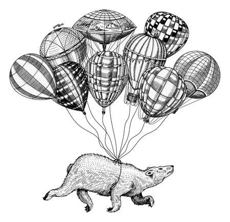 Polar Bear flies on Air Balloons. Vintage retro airship with decorative elements. Wild Animal soars in the sky. Template for travel logo. Hand drawn Engraved sketch Stock Illustratie