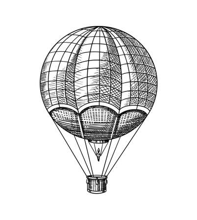 Vintage Hot Air Balloon. Vector retro flying airship with decorative elements. Template transport for Romantic logo. Hand drawn Engraved sketch