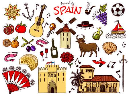 Symboles et objets traditionnels espagnols. Ensemble de signes et d'icônes de style vintage. Dessiné à la main. Guitare, futbol, musique et vin.