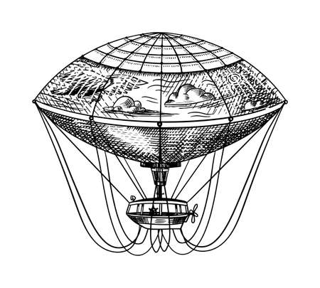 Globo aerostático vintage. Dirigible volador retro de vector con elementos decorativos. Transporte de plantilla para boceto grabado dibujado a mano romántico. Ilustración de vector