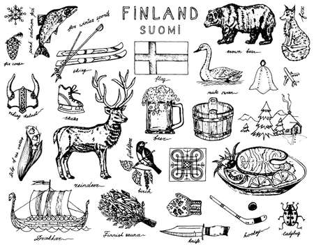 Symbole von Finnland im Vintage-Stil. Doodle-Skizze mit traditionellen Zeichen. Skandinavische Kultur, nationale Unterhaltung in einem europäischen Land. Tiere und Wald, Bad und Flagge, Winter und Kälte. Vektorgrafik