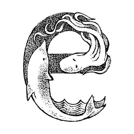 Letra mayúscula E antigua antigua con un adorno. Cultura griega. Exposición doble. Boceto grabado dibujado a mano en estilo vintage.