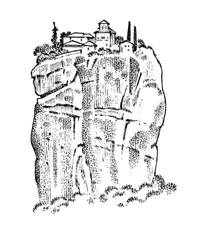 Felsen im antiken Griechenland. Griechische Ruinen, Landschaft im Vintage-Stil. Handgezeichnete gravierte Vintage-Skizze für Poster, Banner oder Website. Vektorgrafik