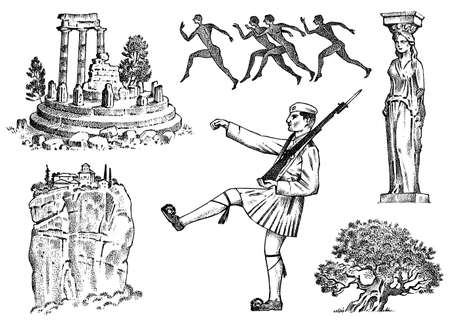 Greek culture. Set of national symbols. Ruins and rock, military and statue in a column, marathon runners and a tree. Hand drawn engraved sketch in vintage style.