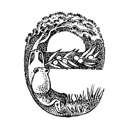 Antiker antiker Großbuchstabe E mit Ornament. Griechische Kultur. Doppelbelichtung. Handgezeichnete gravierte Skizze im Vintage-Stil. Vektorgrafik