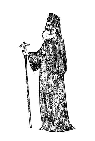 Priest in clerical clothing. Archbishop of Athens and All Greece. Greek Man Bishop in vintage style. Hand drawn engraved vintage sketch for poster, banner or website. Illustration