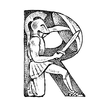 Ancient antique capital letter R with an ornament. Greek culture. Double exposure. Hand drawn engraved sketch in vintage style.