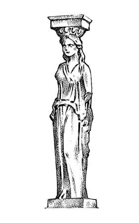 Greek column statue in Greece. Woman in antique old style. Hand drawn engraved vintage sketch for poster, banner or web site.