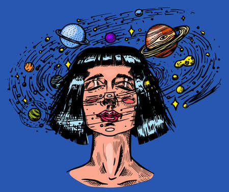 Young woman with planets. Double exposure Future girl astronomer and stars in space. Science fiction concept. Hand drawn engraved vintage retro sketch for tattoo, t-shirt or logo.