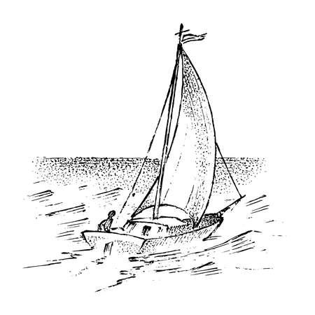 Żaglówka na morzu, letnia przygoda, aktywne wakacje. Statek pełnomorski, statek morski lub karawela morska. transport wodny po oceanie dla marynarza i kapitana. grawerowane ręcznie rysowane w stylu vintage