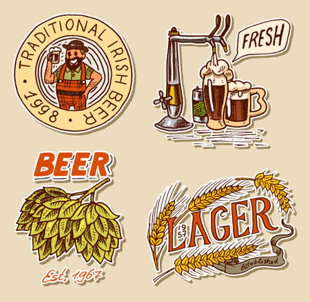 Retro Bavarian beer man, Green Hops , Rye and wheat, Cheers toast. Alcoholic Labels and stickers with calligraphic elements. Vintage American frame for poster banner. Hand drawn engraved sketch.