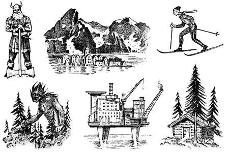 Norway culture. Set of national symbols. Viking and mountains, skier and architecture, oil production and a house in the woods, and fabulous goblin. Hand drawn engraved sketch in vintage style.