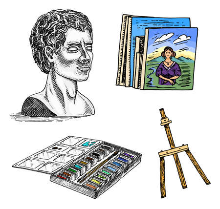 Materials and tools for the artist. Gypsum head and an easel, painting with landscape and colourful palette. Archivio Fotografico - 128028890