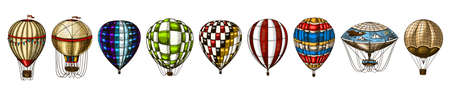 Hot Air Balloons. Vector retro flying airships with decorative elements. Archivio Fotografico - 128028891