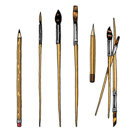 Tools and materials of the artist for drawing. Brushes and pencils. Craft creative people. Equipment in Doodle style. Engraved hand drawn sketch. Archivio Fotografico - 128028897