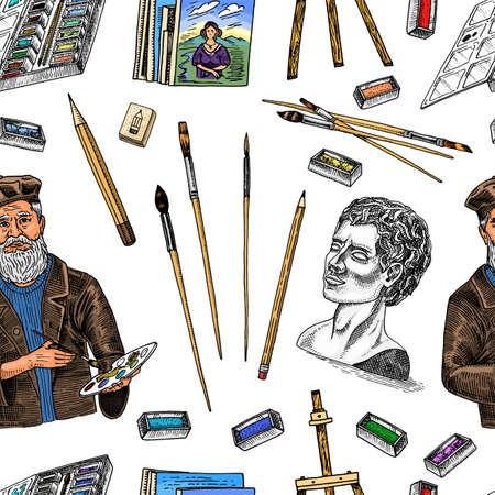 Tools for the artist seamless pattern. Easel, paints, paintings, brushes, pencils. Craft creative people. Equipment background in Doodle style. Engraved hand drawn sketch.