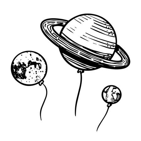 Planets in space for emblem Astronomy in vintage style. Hand drawn Balloons in retro doodle style.