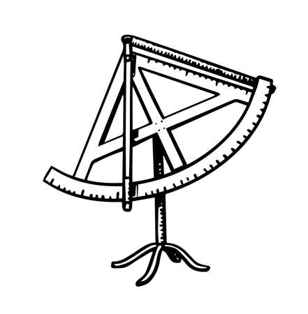 Sextant scientific measuring instrument. Astronomy sketch for emblem  in vintage style. Device for the Sun and other space objects above the horizon. Hand drawn illustration in doodle style.