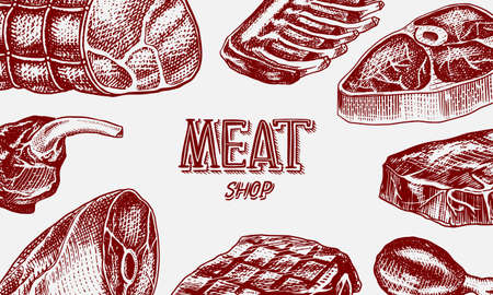 Grilled meat poster, Pork or beef steak. Barbecue BBQ banner. Food in vintage style. Background for restaurant menu, emblems or badges. Hand drawn sketch. Ilustração