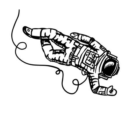 Astronaut flies in space. Spaceman explores the galaxy Astronomy sketch for emblem in vintage style. Hand drawn illustration in retro doodle style.