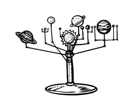 Mechanical model of the Solar System, Planets in space. Tellurion or Orrery. Astronomy sketch for emblem in vintage style. Hand drawn illustration in doodle style.