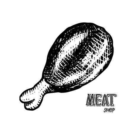 Grilled meat, bbq chicken leg. Barbecue food in vintage style. Templates for restaurant menu, emblems or badges. Hand drawn sketch. Ilustração