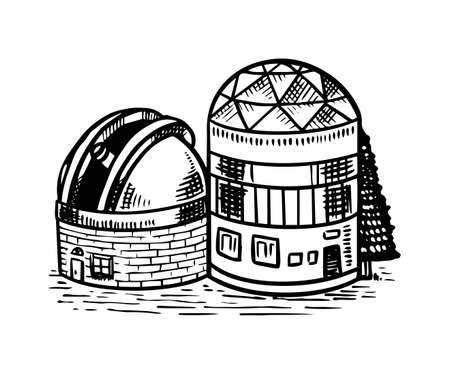 Observatory to observe the stars, planets and space. Astronomy sketch for emblem in vintage style. Hand drawn illustration in retro doodle style.