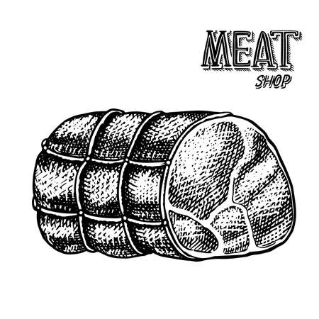 Grilled meat, Pork or beef meatloaf. Food in vintage style. Template for restaurant menu, emblems or badges. Hand drawn sketch. Ilustração