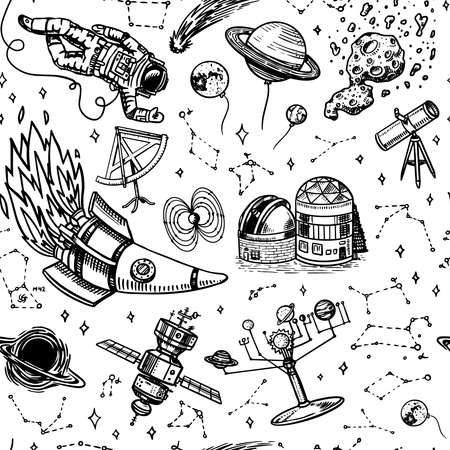 Astronomy Seamless pattern in vintage style. Space and cosmonaut, moon and spaceships, meteorite and stars, planets and observatory background. Hand drawn in retro doodle style.