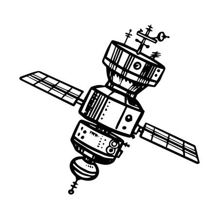 Astronaut spaceship for traveling in space. Satellite for the study of planets and galaxies. Astronomy sketch for emblem in vintage style. Hand drawn illustration in retro doodle style.