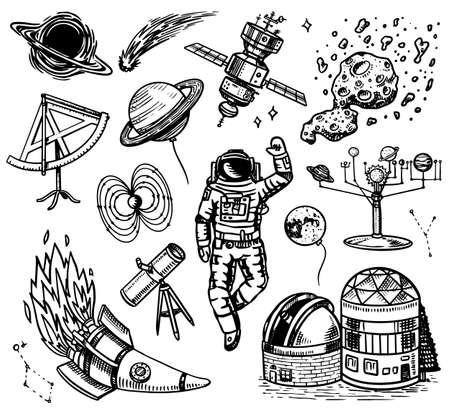 Fondo de astronomía en estilo vintage. Espacio y cosmonauta, luna y naves espaciales, meteorito y estrellas, planetas y observatorio. Dibujado a mano en estilo retro doodle. Ilustración de vector