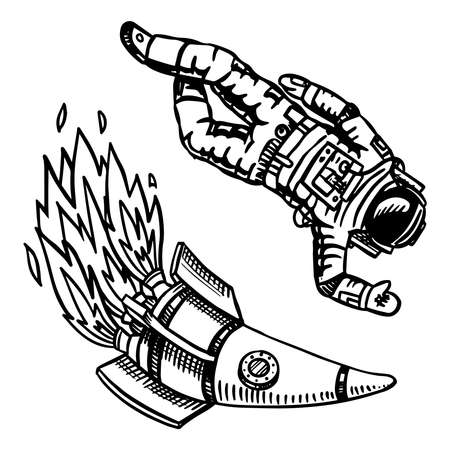 Spaceship and spaceman, Astronomy in vintage style. Space and cosmonaut, rocket and astronaut. Hand drawn in retro doodle style.