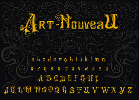 Victorian alphabet in Vintage style. Antique old Font. Typeface in gold colors, editable and layered. Hand drawn Vector modern letters.