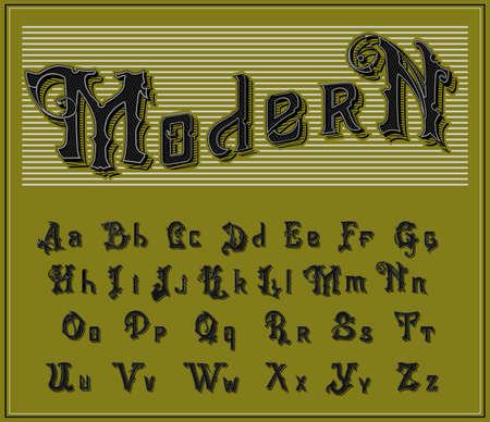 Victorian alphabet in ancient style. Antique old Font for Whiskey label. Vintage typeface in black colors, editable and layered. Hand drawn Vector modern letters. Illustration