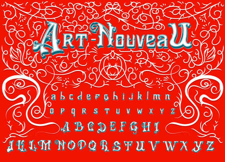 Antique old Font for Whiskey label. Victorian alphabet in ancient style. Vintage typeface in white red colors, editable and layered. Hand drawn Vector modern letters.