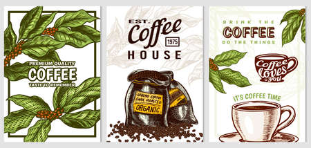 Coffee cards in vintage style. Hand drawn engraved poster, retro doodle sketch on white background. Leaves and cup, beans and calligraphic inscription. Vector Template Banner.