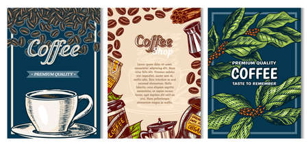 Coffee cards in vintage style. Hand drawn engraved poster, retro doodle sketch on dark background. Leaves and cup, beans and calligraphic inscription. Vector Template Banner.