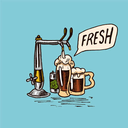 Glass of beer in vintage style. Alcoholic Label with Keg and crane. Classic American badge for poster banner. Hand drawn engraved sketch lettering for web, pub menu.