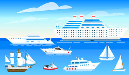 Sea ships background. Set of sailboats and boats sailing on blue water. Transport sailors for world travel. Summer poster or banner for a web site. Vector illustration in cartoon style.