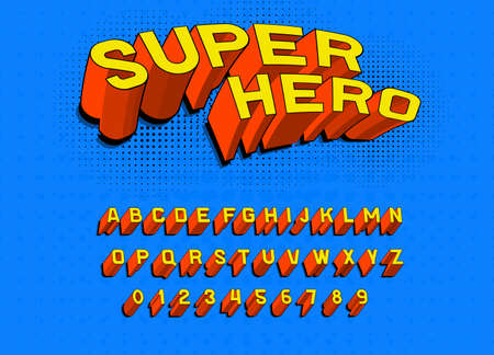 Comic game font for posters. Pop art retro alphabet. Vintage Futuristic 80 s typeface, editable and layered. Vector Super hero, modern chrome letters in disco style for banners. Ilustração
